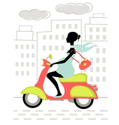 Pregnant woman scootering in the city vector