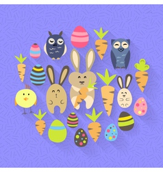 Easter eggs birds rabbits and carrots icons on a vector