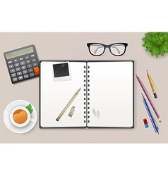 Workspace with notebook and tea vector