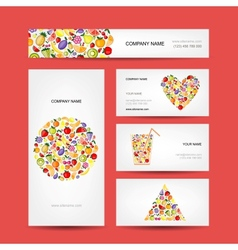 Business cards design fruit collection vector