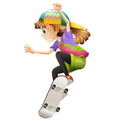 A young woman skateboarding vector