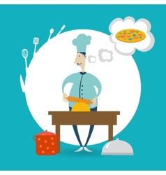Chef prepares dough vector