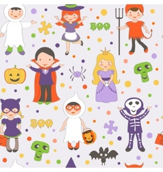 Halloween kids pattern vector