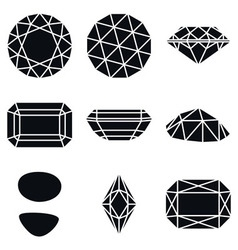 Gemstone shapes icons vector