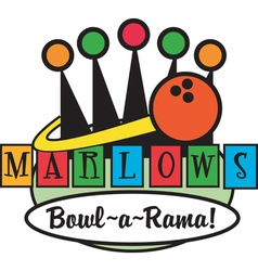Retro bowling alley logos vector
