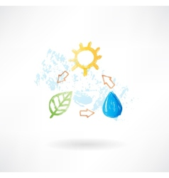 Water cycle grunge icon vector