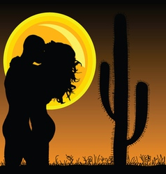 Couple in love with cactus and sun vector