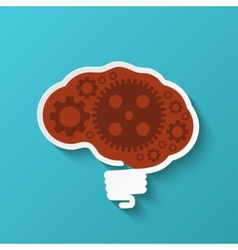 Modern brain icon on blue background vector