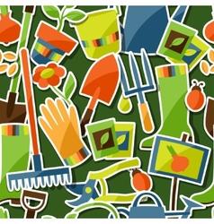 Seamless pattern with garden sticker design vector