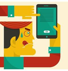 Man looking at smart phone vector