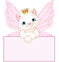 Adorable princess cat vector
