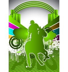 Abstract summer background with polo player vector