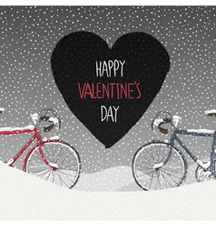 Valentines card two bicycles vector