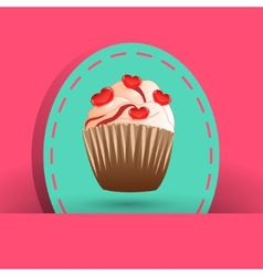 Candy cupcake on the pink background vector