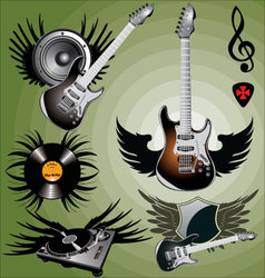 Music label with wings vector
