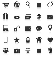 Ecommerce icons with reflect on white background vector