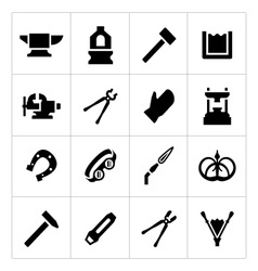 Set icons of forge vector