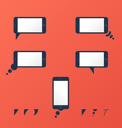 Gadget smartphone empty speech bubbles red vector