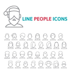 Set user line icons vector