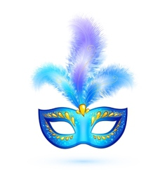 Blue isolated carnival mask with feathers vector