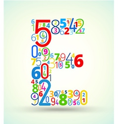 Letter e colored font from numbers vector