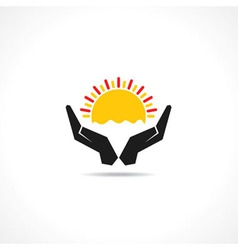 Hand protecting sun icon vector