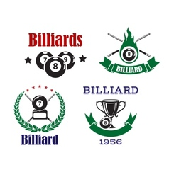 Retro emblems for billiards with cues and balls vector