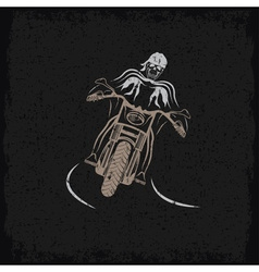 Biker theme grunge label with motorbike and skull vector
