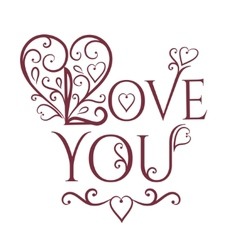 Love you with floral ornament vector
