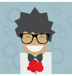 Smiled man in glasses with flowers vector