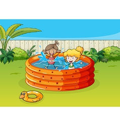 Girls playing in swimming pool vector