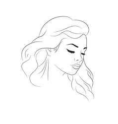 Nice woman outline portrait vector