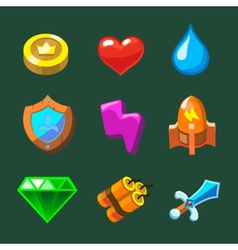 Cartoon icons set for game vector