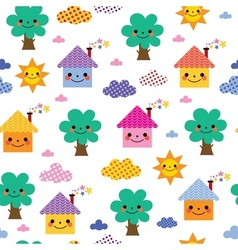 Cute houses trees and clouds kids pattern vector