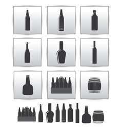 Alcoholic drinks icon square gray set vector