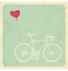 Vintage valentines card with bicycle and heart bal vector