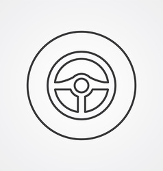 Steering wheel outline symbol dark on white vector