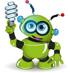 Green robot and lamp vector