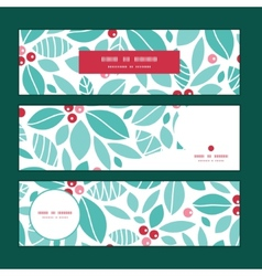 Christmas holly berries horizontal banners set vector