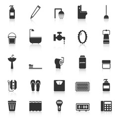 Bathroom icons with reflect on white background vector