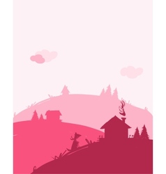 Dawn in village landscape for your design vector