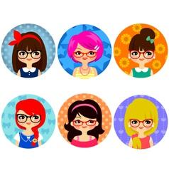 Glasses girls vector