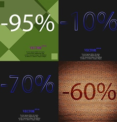 10 70 60 icon set of percent discount on abstract vector