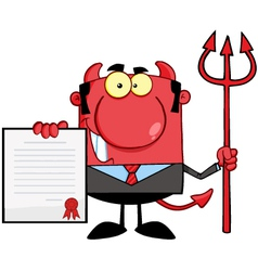 Devil boss with a trident holds up a contract vector