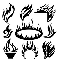 Fire signs and tattoos set vector