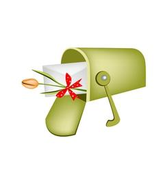 Love letter and orange tulip in mailbox vector