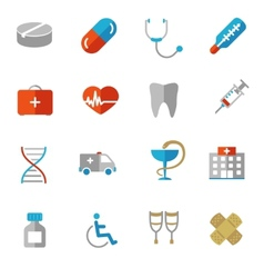 Set of colorful medical icons in flat colors vector