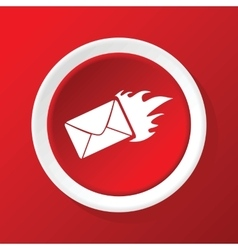 Burning envelope icon on red vector