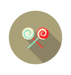 Christmas spiral candy stick flat icon vector
