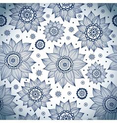 Blue sunflower pattern vector